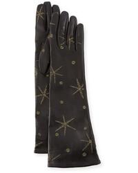 Gants longs en cuir noirs Valentino