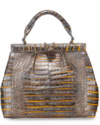 Nancy Gonzalez Crocodile Medium Pleated Satchel Bag Goldmulti