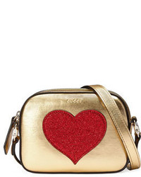 Gucci Girls Metallic Leather Crossbody Bag Gold