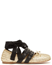 Miu Miu Buckle Fastening Woven Leather Ballet Flats
