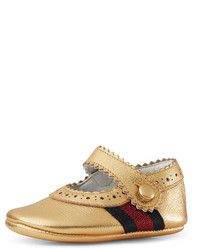 Gucci Baby Lila Leather Mary Jane Gold Infant