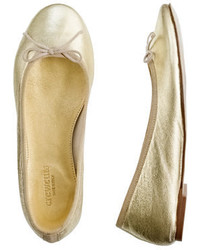 J.Crew Girls Classic Metallic Leather Ballet Flats