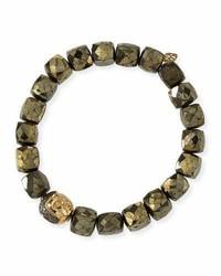 Sydney Evan 8mm Cubed Pyrite Beaded Bracelet W 14k Diamond Buddha Bead