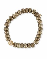 Sydney Evan 8mm Pyrite Beaded Bracelet W 14k Diamond Ball Charm