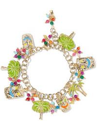 Rosantica Enameled Gold Tone Beaded Charm Bracelet