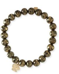 Sydney Evan Pyrite Beaded Bracelet W 14k Diamond Paw Charm