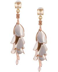Oscar de la Renta Beaded Flower Drop Earrings