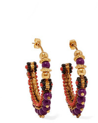 Etro Gold Plated Beaded Hoop Earrings One Size