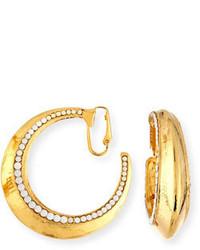 Jose & Maria Barrera Beaded Golden Clip On Hoop Earrings
