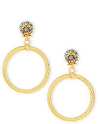 Jose & Maria Barrera Beaded Post Hoop Clip On Earrings
