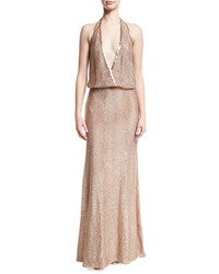 Monique Lhuillier Beaded Deep V Halter Gown Pink Metallic