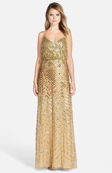 0806f947e ... Adrianna Papell Cross Back Sequin Blouson Gown ...