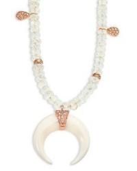 Jacquie Aiche Diamond Bone Aquamarine 14k Rose Gold Beaded Necklace