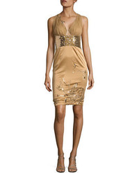 Gold Beaded Sheath Dress