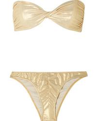 Lisa Marie Fernandez Alexia Ruched Metallic Bandeau Bikini