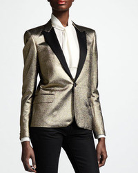 Saint Laurent Metallic One Button Blazer Gold