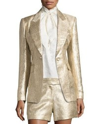 Rockefeller metallic single button blazer gold medium 3664980