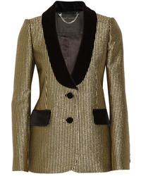 Marc Jacobs Velvet Trimmed Metallic Jacquard Blazer