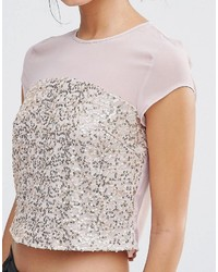 ac5f43f21eb9c7 ... Little Mistress Sequin Top With Mesh Insert ...