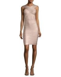 Herve Leger Stella Metallic Halter Bandage Dress