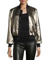 Cinq a sept allura metallic bomber jacket blackgold medium 3640442