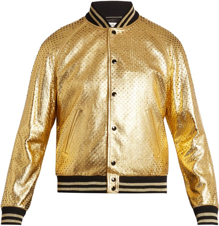 cf95483e7 Metallic Perforated Leather Bomber Jacket