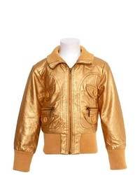 Yoki girls gold metallic bomber jacket designer fall winter coat 16 medium 320602