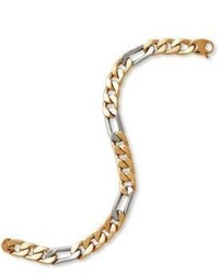Lord & Taylor 14k Yellow And White Gold Chain Link Bracelet