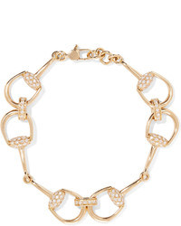 Gucci 18 Karat Gold Diamond Horsebit Bracelet One Size