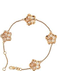 Roberto Coin Art Nouveau 18k Rose Gold Diamond Flower Bracelet
