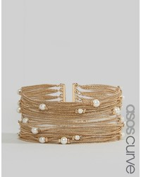 Asos Curve Curve Fine Chain And Faux Pearl Multirow Bracelet