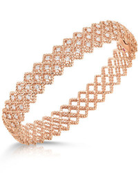 Roberto Coin Barocco Three Row Diamond Bracelet In 18k Rose Gold