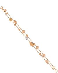 Roberto Coin Classic 18k Rose Gold Diamond Double Strand Mixed Station Bracelet