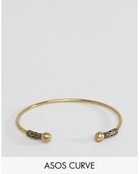 Asos Curve Curve Etched Open Cuff Bracelet