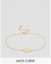 Asos Curve Curve Gold Plated Sterling Silver Disc Bracelet