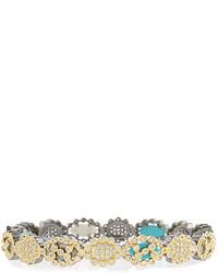 Freida Rothman Cutout Mixed Stone Hinged Bangle Bracelet