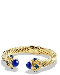 David Yurman Renaissance Bracelet With Lapis Lazuli And Hampton Blue Topaz In 18k Gold