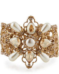 Oscar de la Renta Filigree Cuff Bracelet With Crystals Pearly Beads