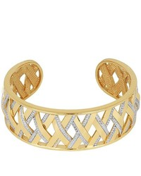 FINE JEWELRY Gold Plated Diamond Accent Crisscross Cuff Bracelet