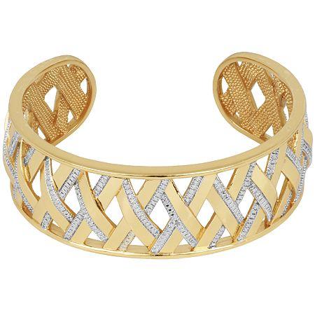 FINE JEWELRY Gold Plated Diamond Accent Crisscross Cuff Bracelet