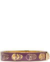 Alexander McQueen Gold Burgundy Cut Out Skull Bracelet