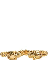 Alexander McQueen Gold Crystal Studded Skull Cuff