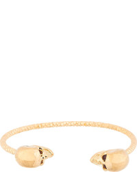 Alexander McQueen Gold Faceted Twin Skull Bracelet