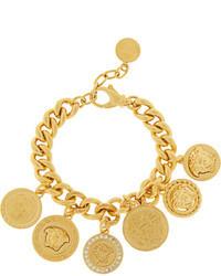 Versace Gold Plated Swarovski Crystal Charm Bracelet