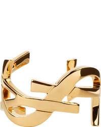 Saint Laurent Gold Signature Monogram Cuff