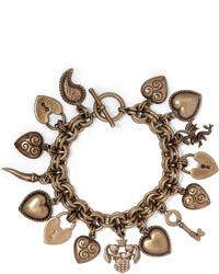 Etro Gold Tone Charm Bracelet One Size