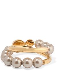 Marni Gold Tone Faux Pearl Bracelet One Size