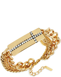 Steve Madden Gold Tone Pav Cross Bar Multi Chain Bracelet