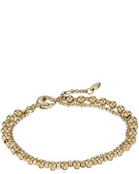 Fossil Gold Tone Steel And Brass Double Chain Bangle Bracelet
