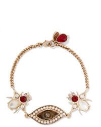 Alexander McQueen Gold Tone Swarovski Crystal And Faux Pearl Bracelet